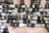 CAA5116 15.5 inches 8*33mm rice striped agate beads wholesale