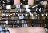 CAA5125 15.5 inches 8*20mm tube striped agate beads wholesale