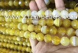 CAA5150 15.5 inches 6mm faceted round banded agate beads