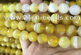CAA5153 15.5 inches 12mm faceted round banded agate beads