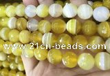 CAA5154 15.5 inches 14mm faceted round banded agate beads