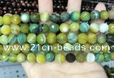 CAA5165 15.5 inches 8mm faceted round banded agate beads