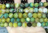 CAA5166 15.5 inches 10mm faceted round banded agate beads