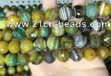 CAA5168 15.5 inches 14mm faceted round banded agate beads
