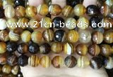 CAA5173 15.5 inches 10mm faceted round banded agate beads