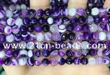 CAA5178 15.5 inches 6mm faceted round banded agate beads