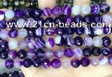 CAA5179 15.5 inches 8mm faceted round banded agate beads