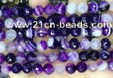 CAA5180 15.5 inches 10mm faceted round banded agate beads