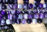 CAA5182 15.5 inches 14mm faceted round banded agate beads