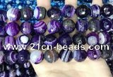 CAA5183 15.5 inches 16mm faceted round banded agate beads
