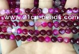 CAA5185 15.5 inches 6mm faceted round banded agate beads