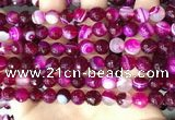 CAA5186 15.5 inches 8mm faceted round banded agate beads