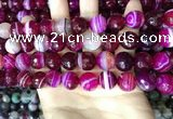 CAA5188 15.5 inches 12mm faceted round banded agate beads