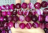 CAA5190 15.5 inches 16mm faceted round banded agate beads