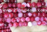 CAA5195 15.5 inches 12mm faceted round banded agate beads