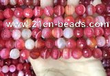 CAA5201 15.5 inches 10mm faceted round banded agate beads