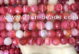 CAA5202 15.5 inches 12mm faceted round banded agate beads