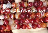 CAA5209 15.5 inches 12mm faceted round banded agate beads