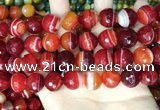CAA5210 15.5 inches 14mm faceted round banded agate beads