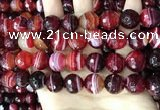 CAA5217 15.5 inches 14mm faceted round banded agate beads