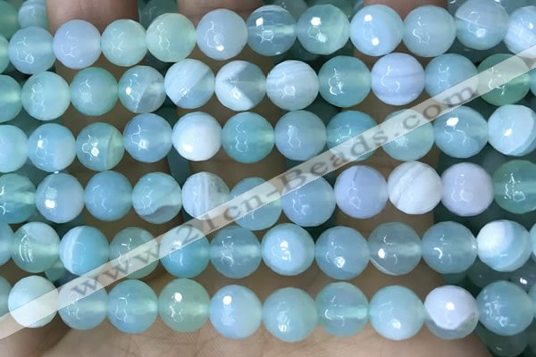 CAA5222 15.5 inches 10mm faceted round banded agate beads