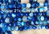 CAA5228 15.5 inches 8mm faceted round banded agate beads