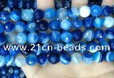 CAA5229 15.5 inches 10mm faceted round banded agate beads