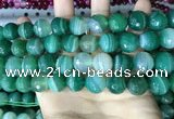 CAA5238 15.5 inches 14mm faceted round banded agate beads