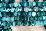 CAA5243 15.5 inches 10mm faceted round banded agate beads