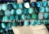 CAA5245 15.5 inches 14mm faceted round banded agate beads