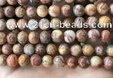 CAA5274 15.5 inches 12mm round natural red crazy lace agate beads