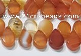 CAA5301 Top drilled 6*8mm flat teardrop line agate beads