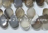 CAA5302 Top drilled 6*8mm flat teardrop line agate beads