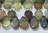 CAA5303 Top drilled 6*8mm flat teardrop line agate beads