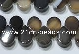 CAA5305 Top drilled 6*8mm flat teardrop line agate beads