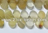 CAA5310 Top drilled 6*8mm flat teardrop line agate beads