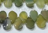 CAA5311 Top drilled 6*8mm flat teardrop line agate beads