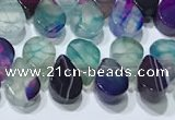 CAA5313 Top drilled 6*8mm flat teardrop line agate beads