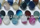 CAA5315 Top drilled 6*8mm flat teardrop line agate beads