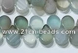 CAA5316 Top drilled 6*8mm flat teardrop line agate beads