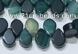CAA5317 Top drilled 6*8mm flat teardrop line agate beads
