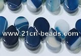 CAA5319 Top drilled 6*8mm flat teardrop line agate beads