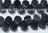 CAA5322 Top drilled 6*8mm flat teardrop line agate beads