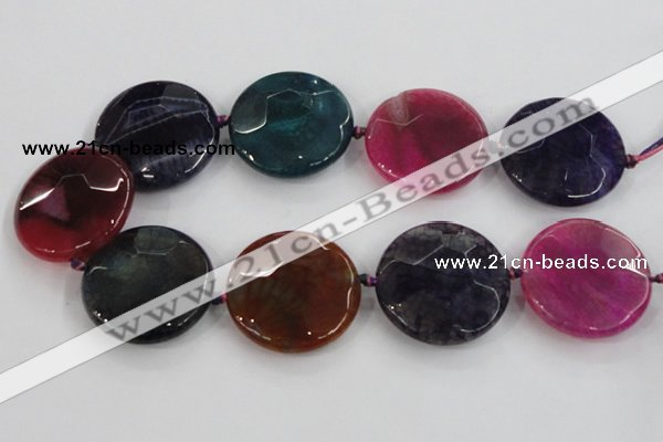 CAA574 15.5 inches 45mm faceted flat round dragon veins agate beads