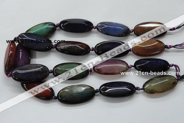 CAA580 15.5 inches 20*40mm faceted oval dragon veins agate beads