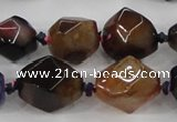 CAA608 15.5 inches 15*20mm faceted nuggets dragon veins agate beads