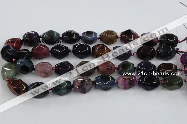 CAA610 15.5 inches 16*20mm faceted nuggets dragon veins agate beads