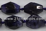 CAA612 15.5 inches 18*25mm faceted nuggets dragon veins agate beads