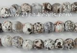 CAA711 15.5 inches 8mm faceted round fire crackle agate beads