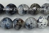 CAA721 15.5 inches 14mm faceted round fire crackle agate beads